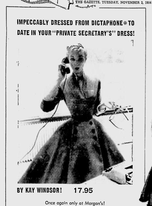 And here's my dress in a 1954 Montreal Gazette ad!