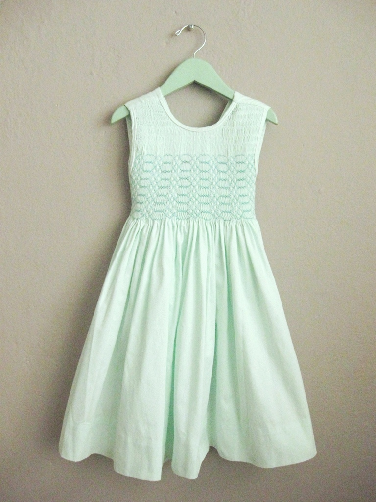 Mint Green Girls Smocked Dress Long Sleeveless Ribbed Cotton
