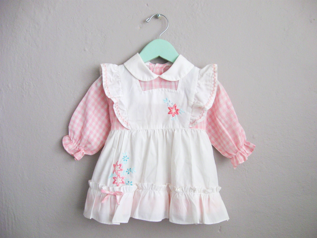 Pink and White Gingham Ruffle Pinafore Dress Baby Girl