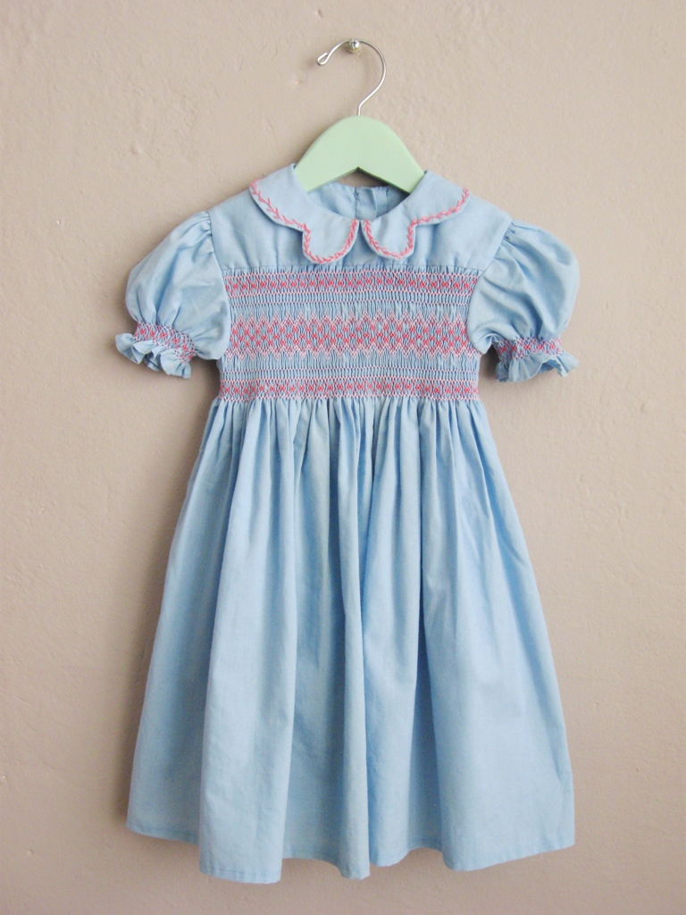 Baby Blue and Pink Smocked Dress Unique Peter Pan Collar Puffed Sleeves