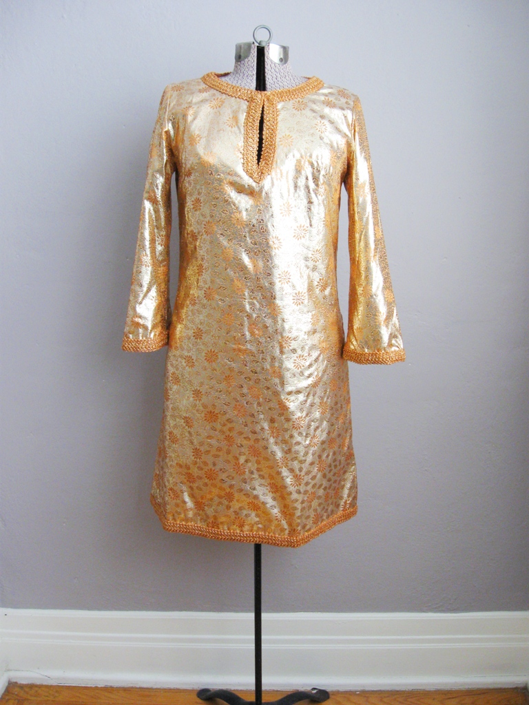 1960s Gold Lame Cocktail Dress with Gold Braid Trim