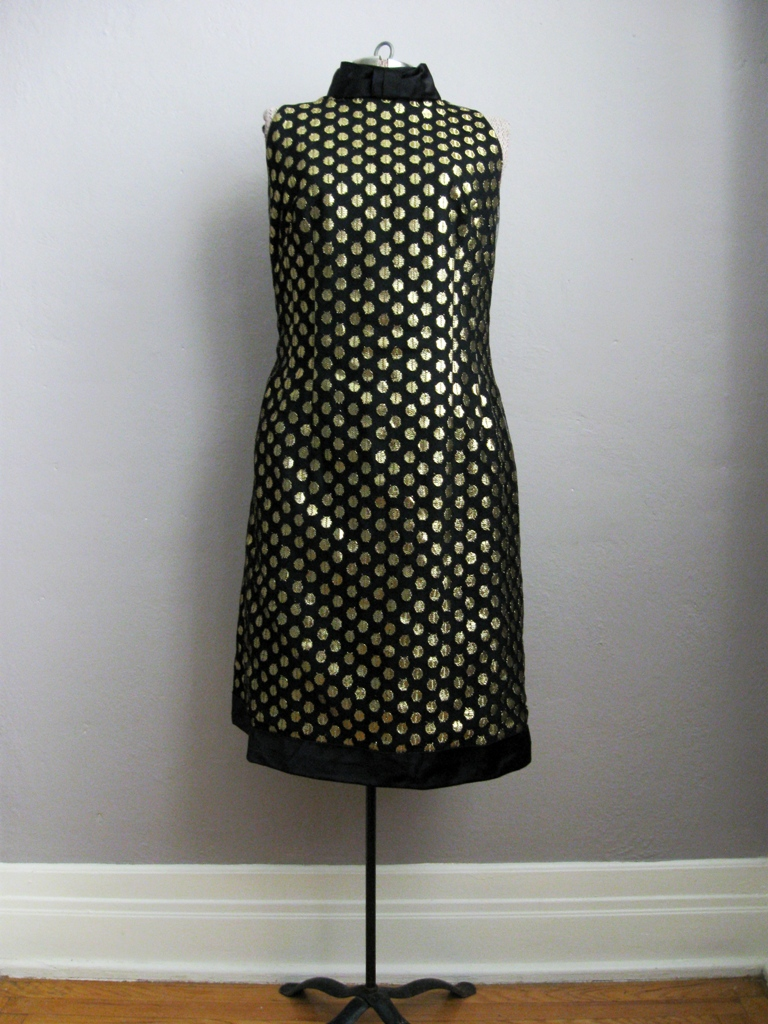 1960s Cocktail Dress Bow Collar Black Gold Net