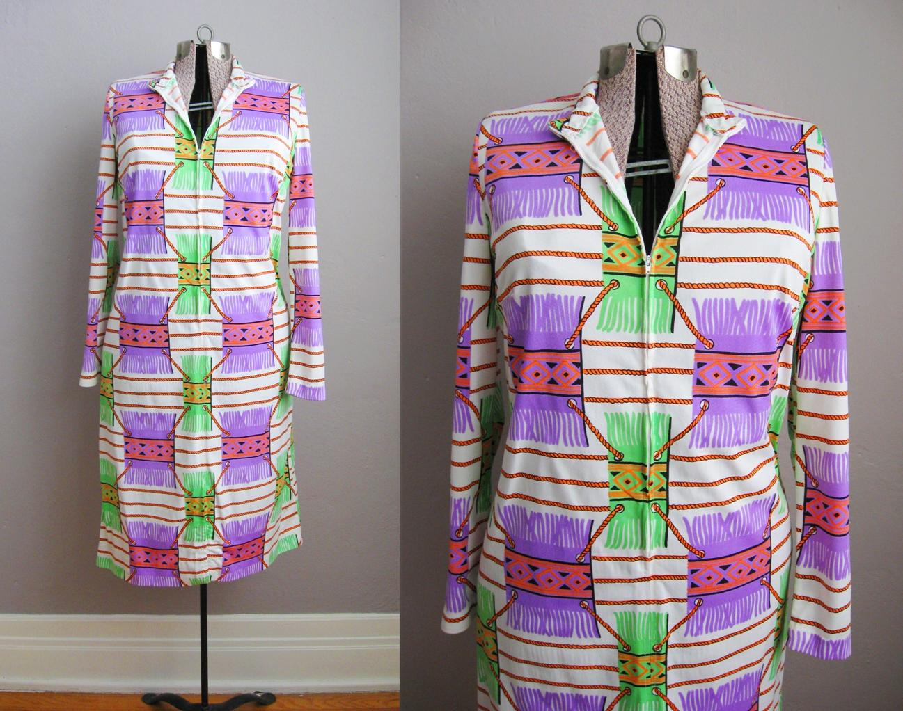 1960s Dress Trompe L'Oeil Psychedelic Print Purple Green