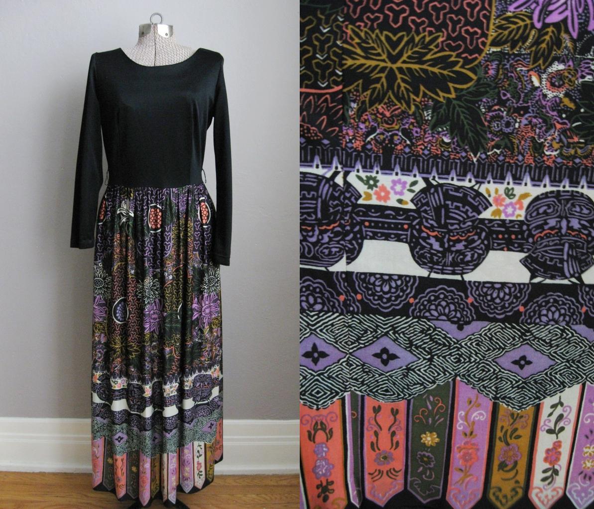 Tiki Print 1960s Vintage Maxi Dress