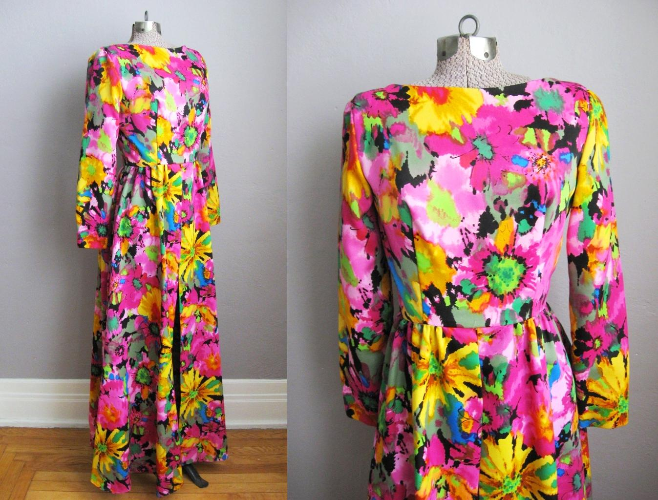1960s Maxi Dress Psychedelic Flower Print
