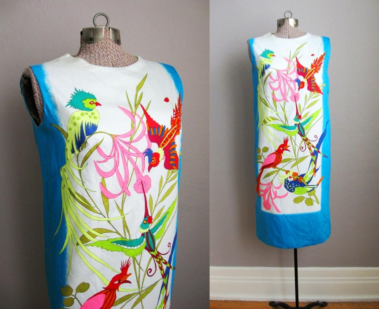 Vintage 60s Shift Dress Birds of Paradise