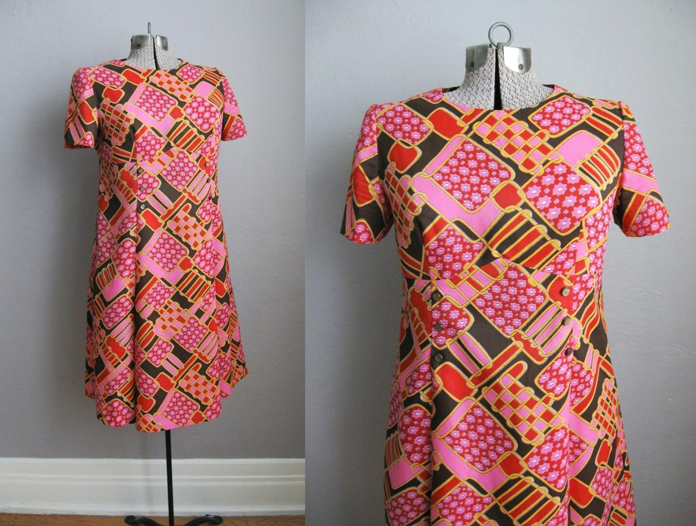 Vintage 1960s Dress Psychedelic Print Pink Brown