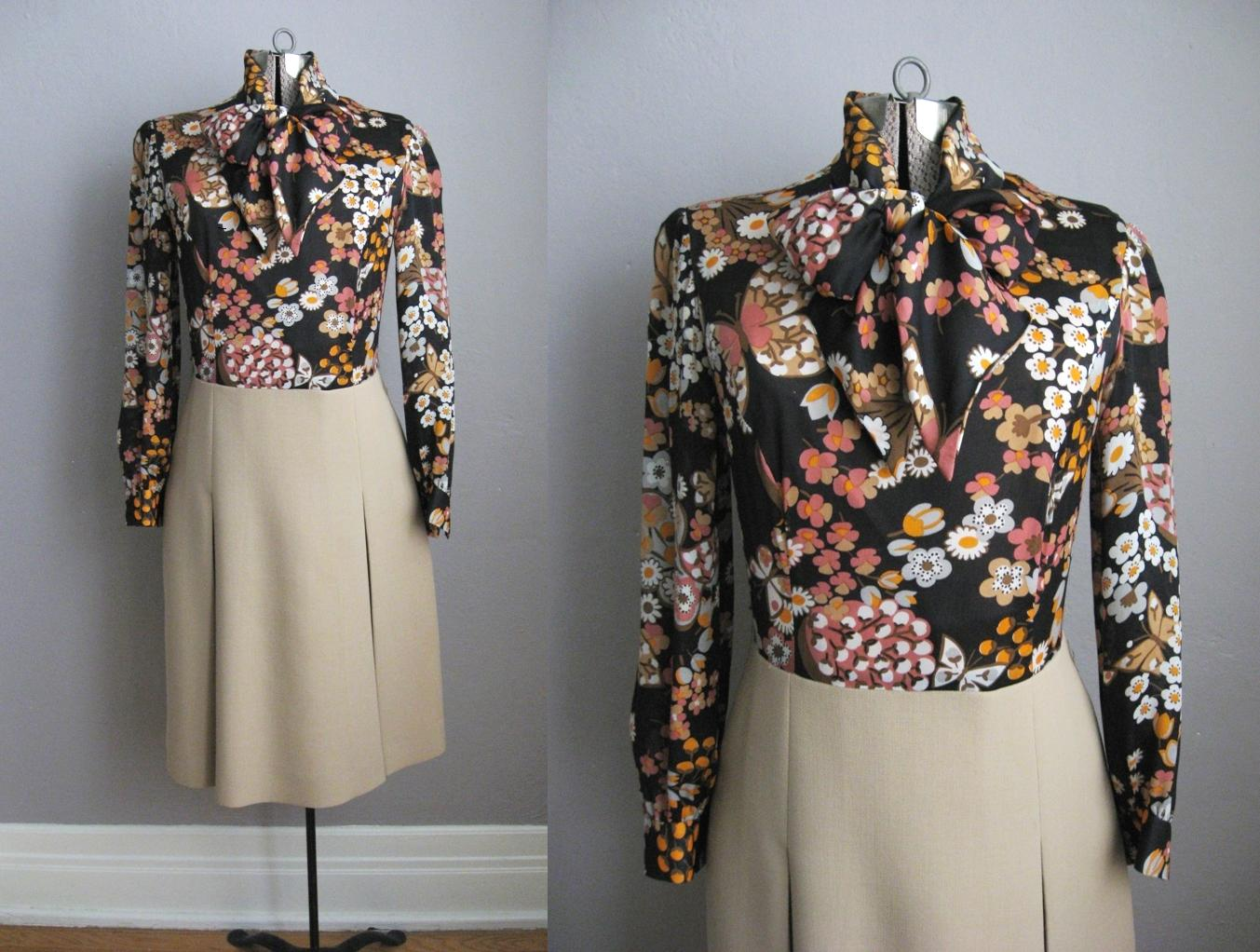 1960 Vintage Dress Butterfly Print Twofer Pleated Skirt