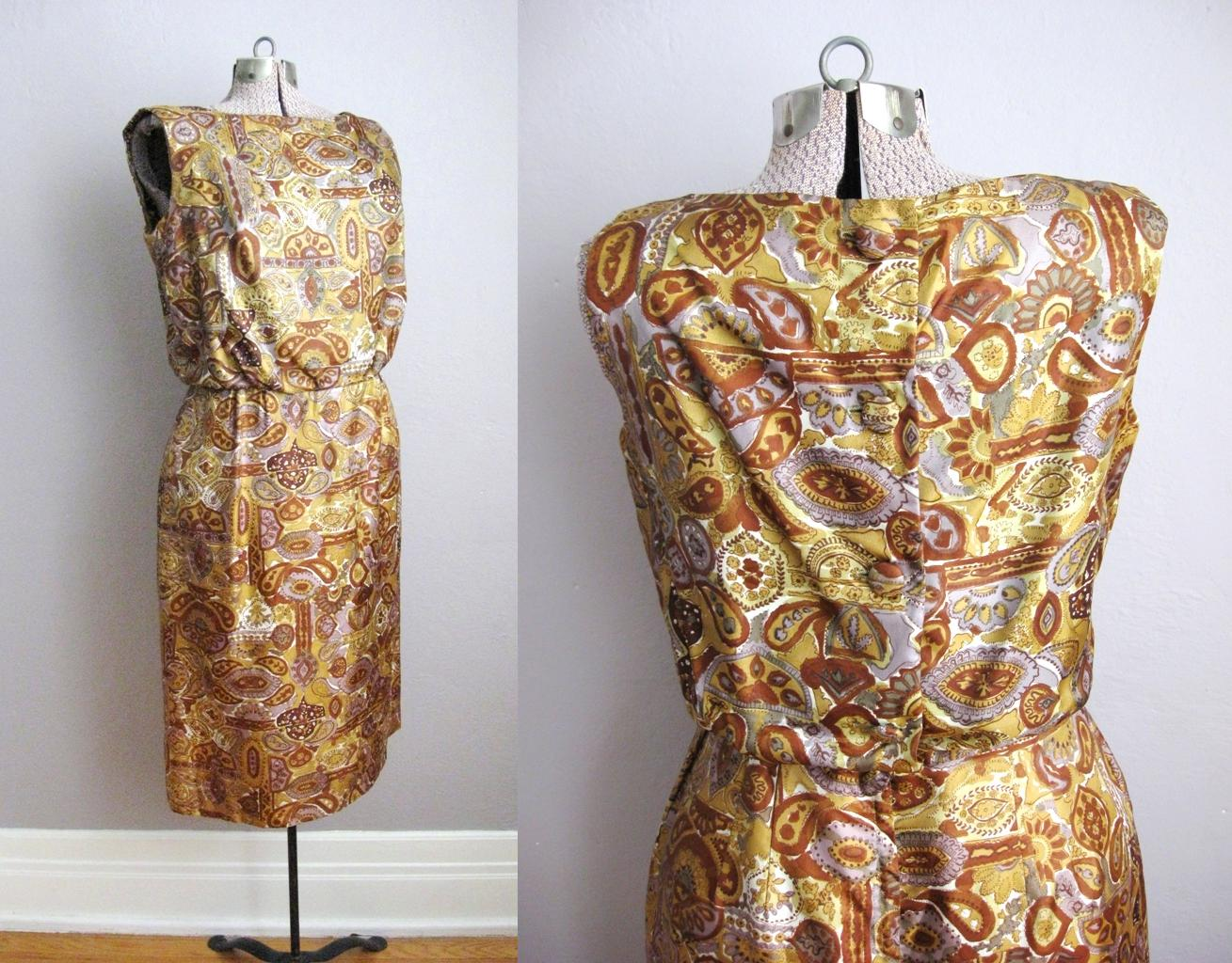 1950s Button Back Wiggle Dress Rust Paisley Print