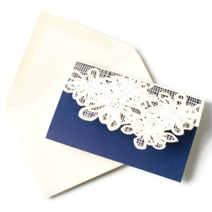 Laser-cut Navy Blue Notecards by Vera Wang