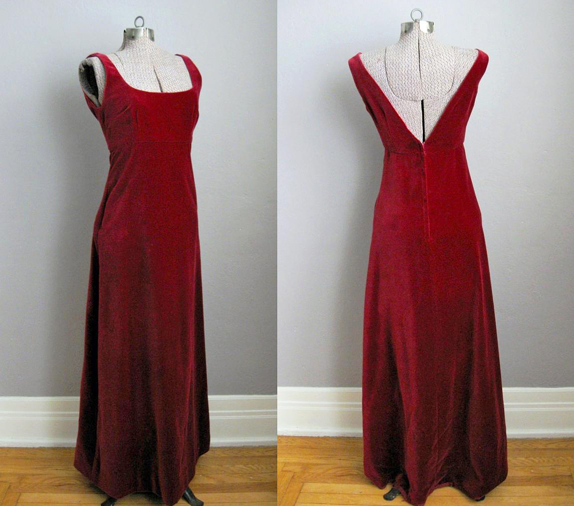 1960s Red Velvet Evening Gown