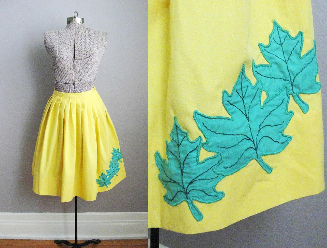1950s Yellow Skirt Maple Leaf Applique