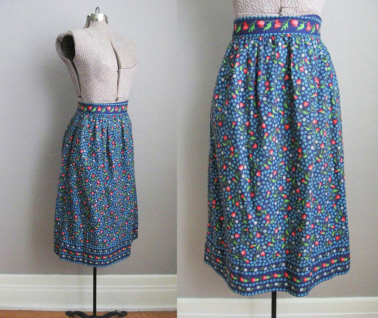 1940s Dirndl Skirt Blue Cotton Chintz