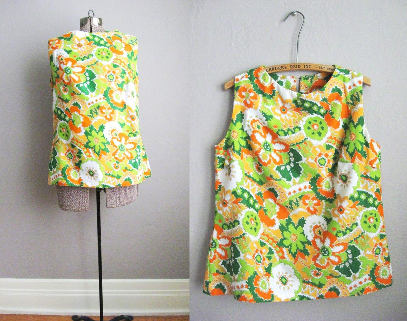 1960s Top Psychedelic Print Sleeveless Blouse