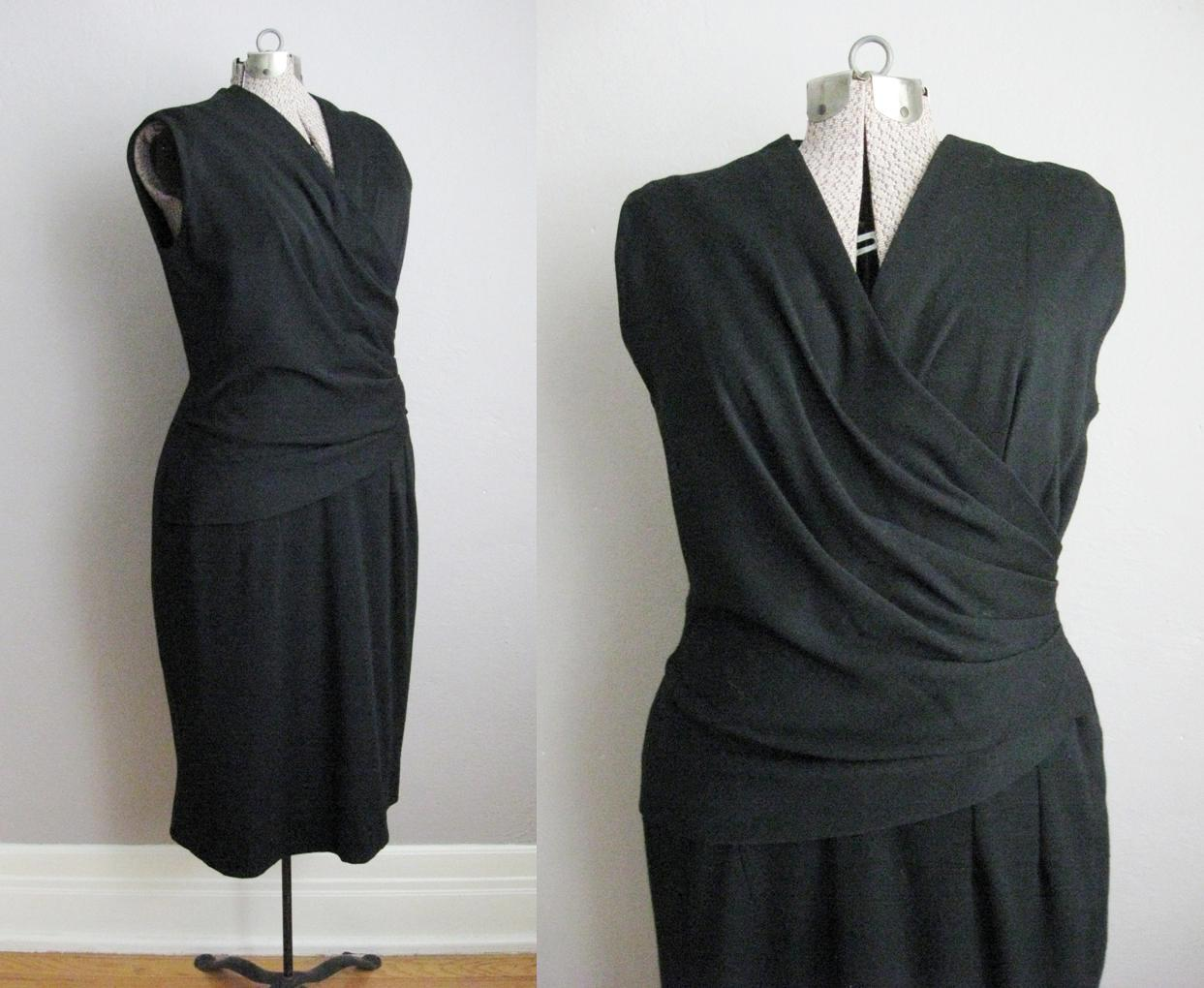 1950s Black Jersey Wiggle Dress