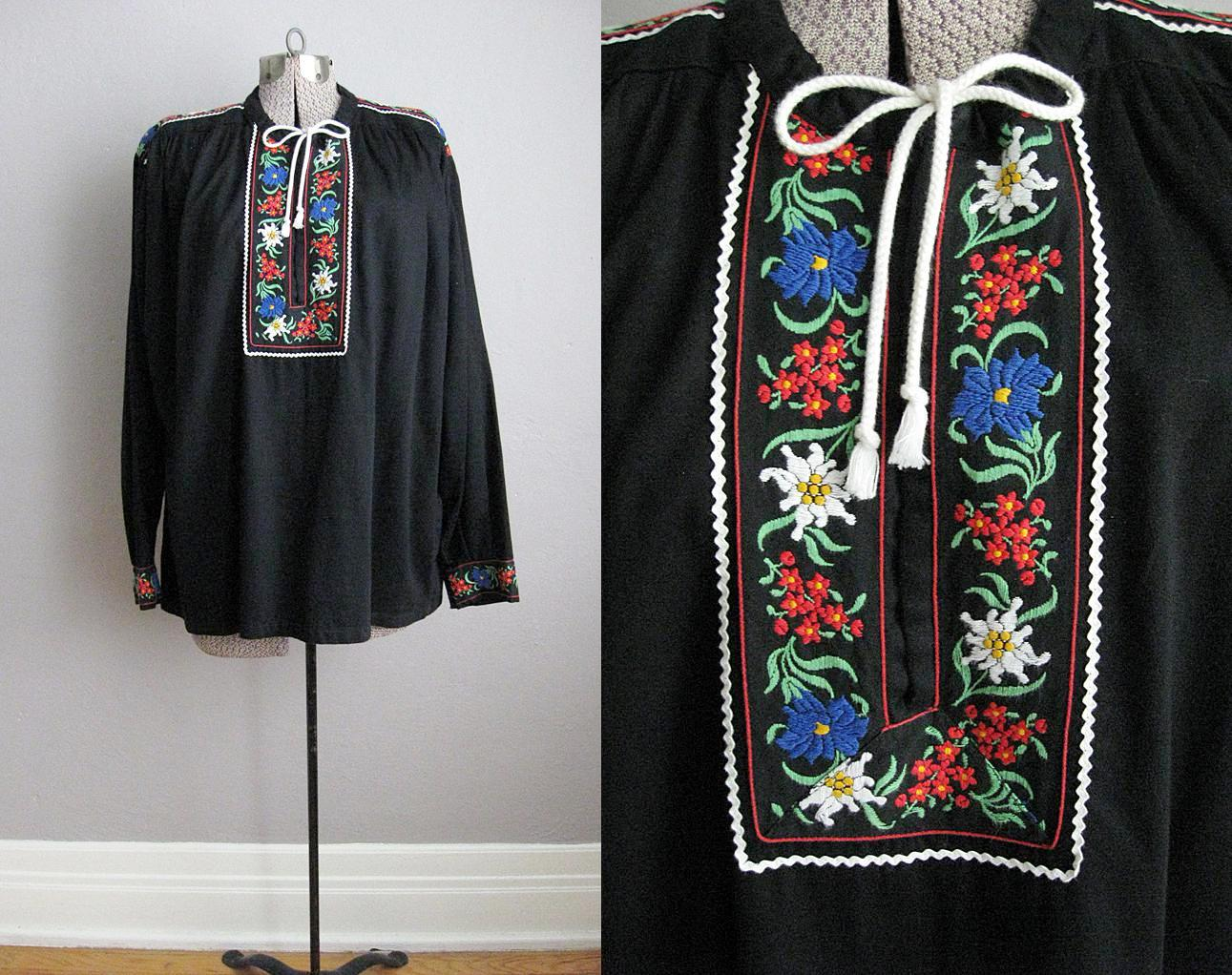 1970s Black Cotton Embroidered Blouse