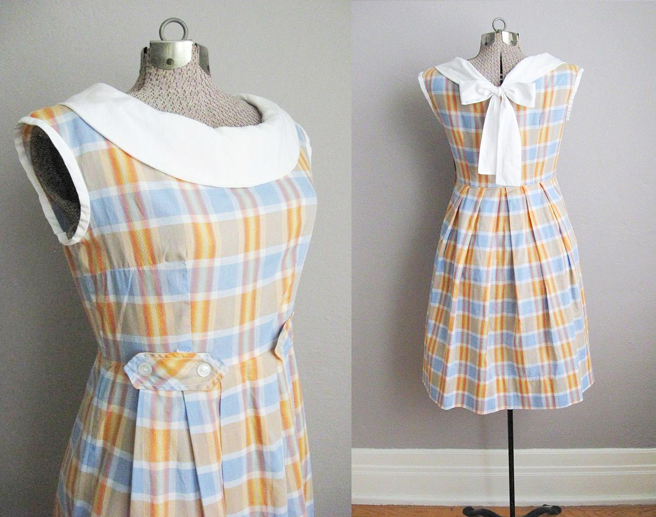 1950s Plaid Dress Sailor Collar Bow