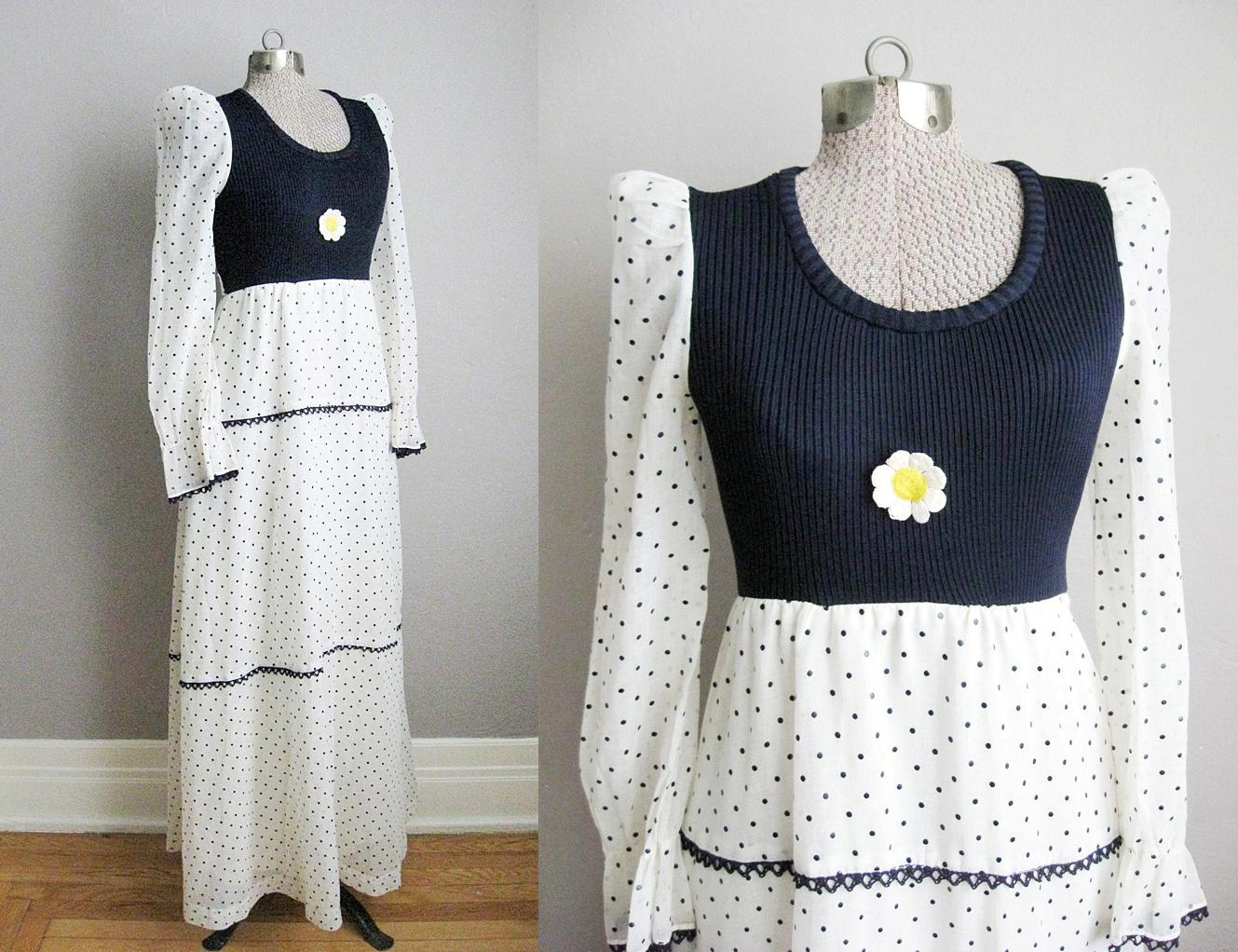1960s Maxi Dress Daisy Applique