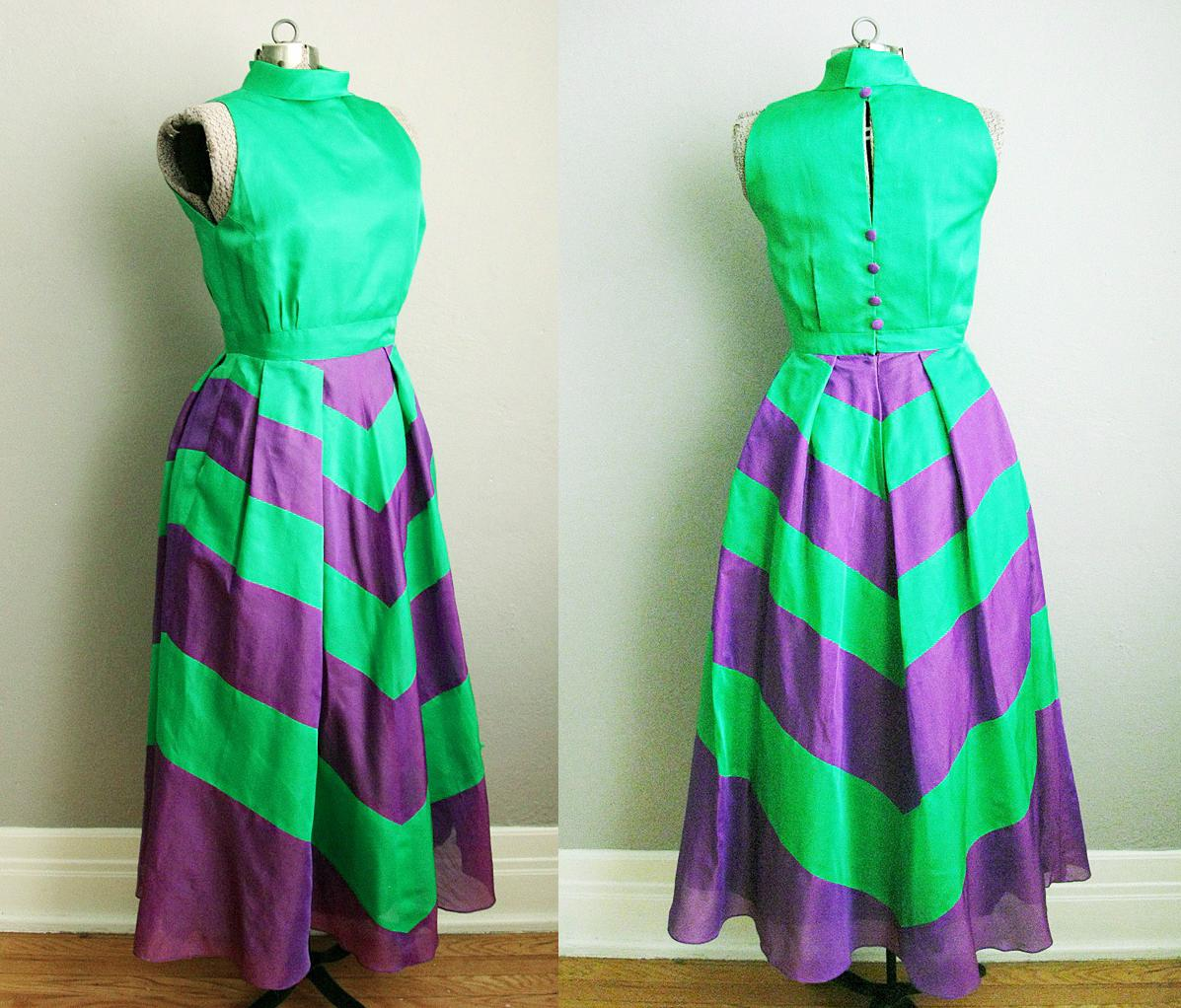 1960s Party Dress Purple and Green Silk