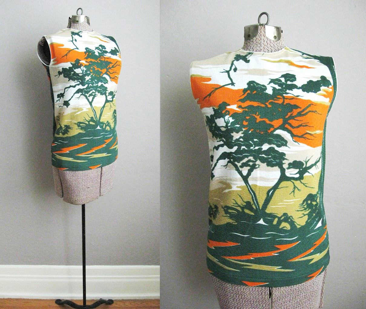1960s Top Nylon Knit Nature Scene