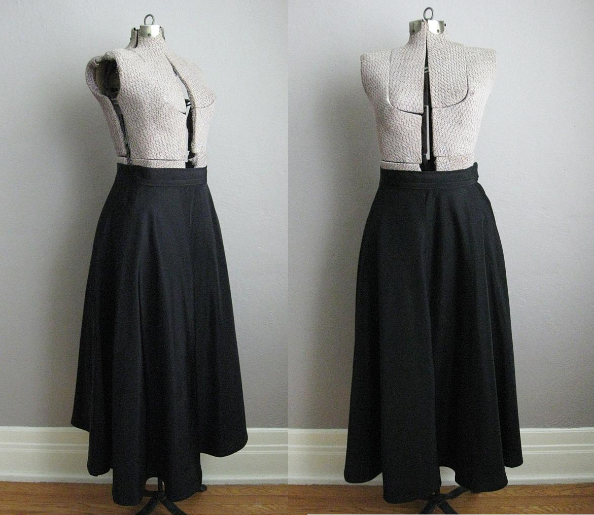 1940s Circle Skirt Black Rayon