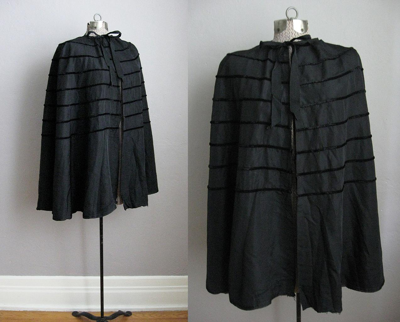 1930s Evening Cape Velvet & Rayon