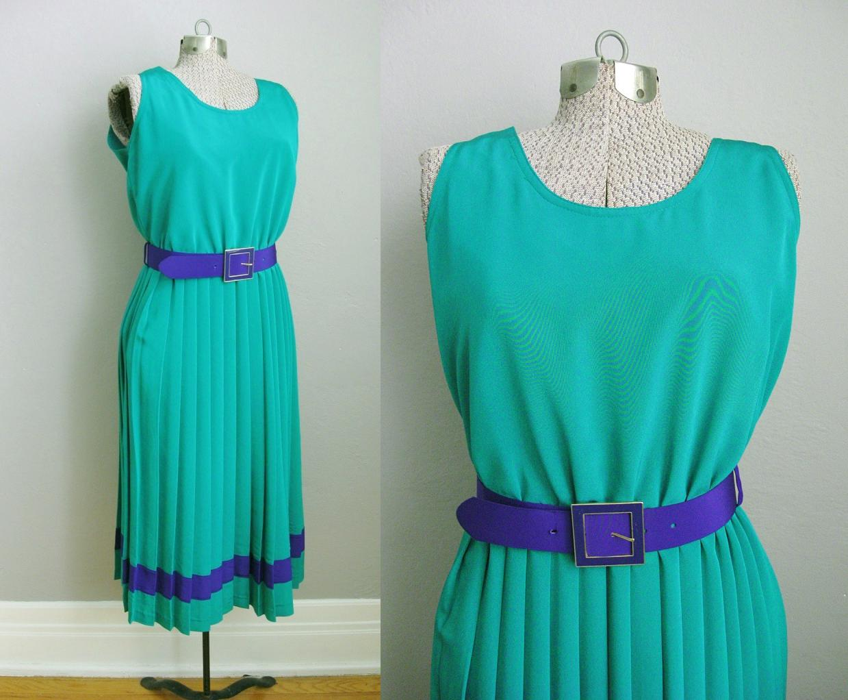 1980s Farouche Torquoise Belted Dress