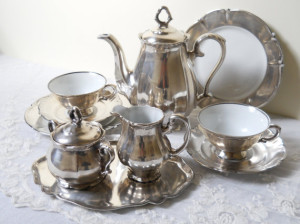 1920s Silver and Porcelain Tea Set