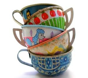 Vintage Tin Tea Cups