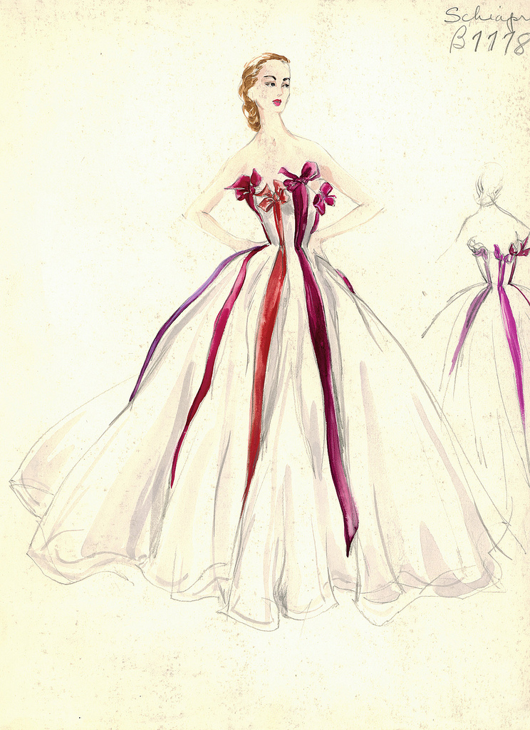 Schiaparelli Gown White Red Bows