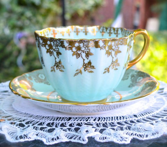 English Bone China Blue and Gold
