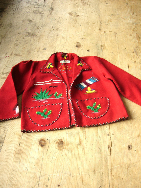 Vintage Mexican Embroidered Childs Jacket By Vintage Zipper