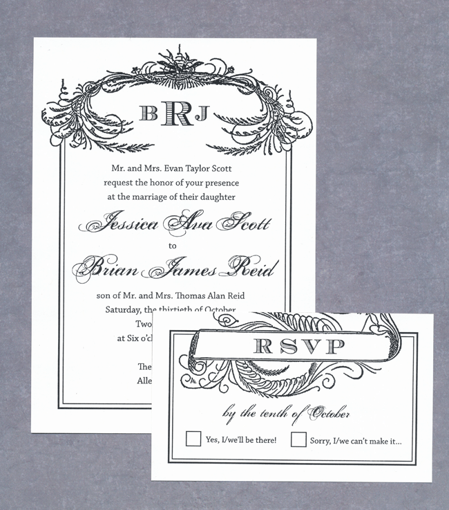 Black Scroll Vintage Wedding Invitations