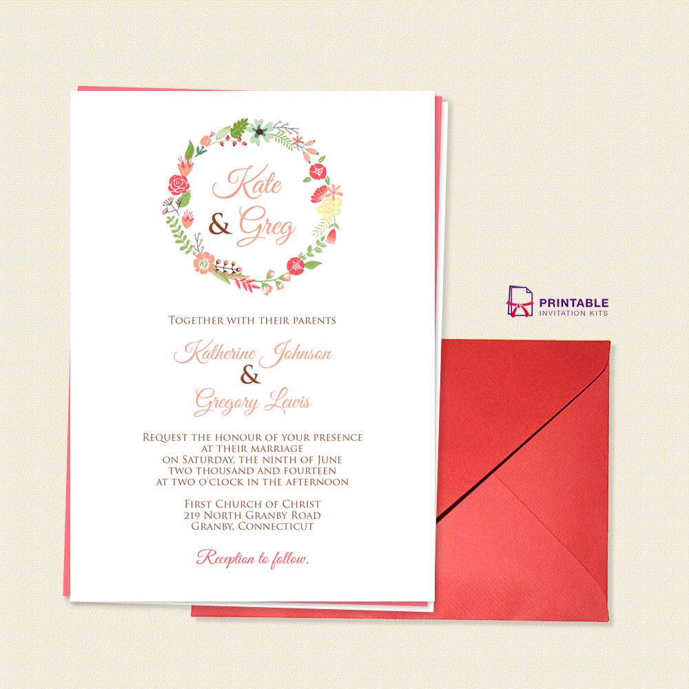 Floral Wreath Monogram Invitation