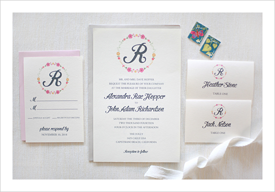 Floral Monogram Wedding Invitation Suite