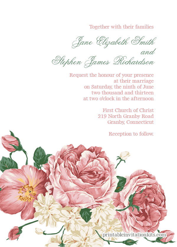 Hand Drawn Floral Bouquet Wedding Invitation