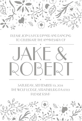 Floral Border Decorations Invitation