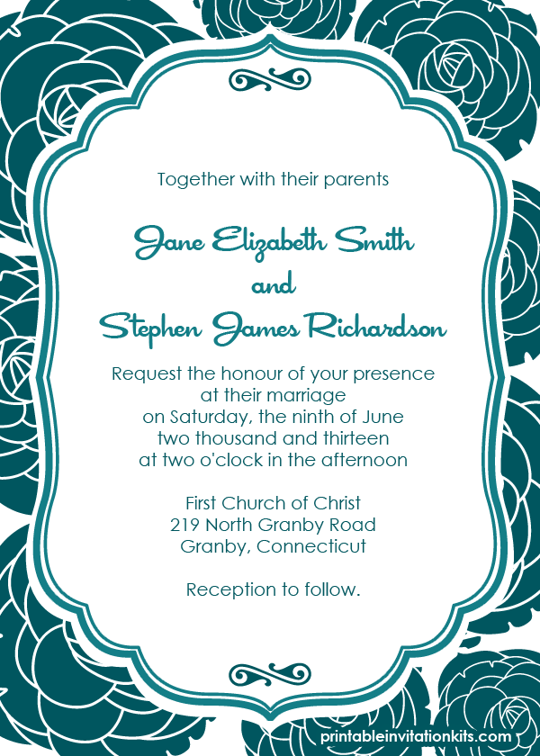 Rose Pattern Free Wedding Invitation
